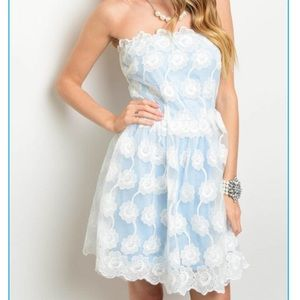 Xtaren Lace Blue Floral Dress
